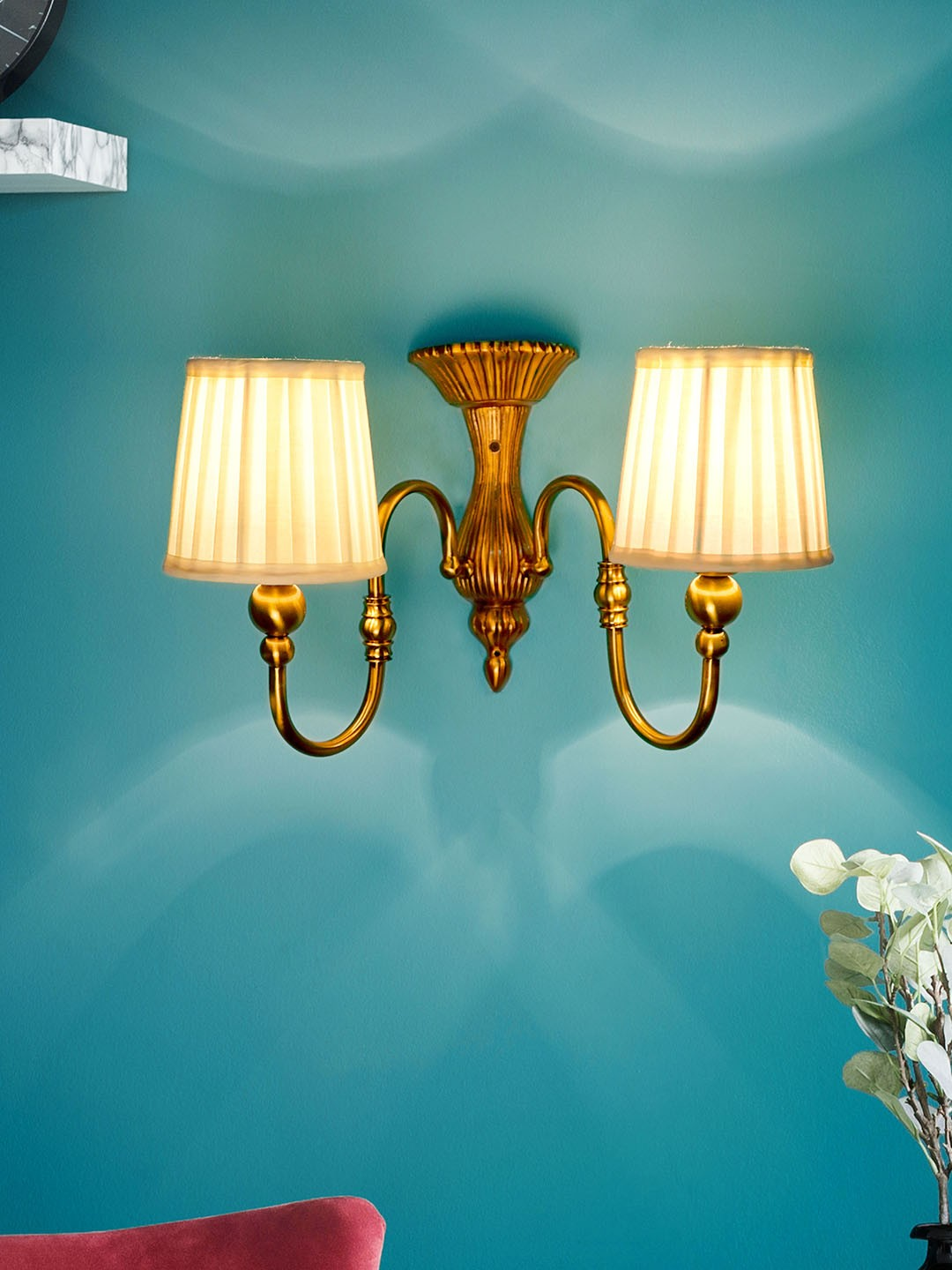 Victorian Brass Twin Wall Light With Taper plated Shades