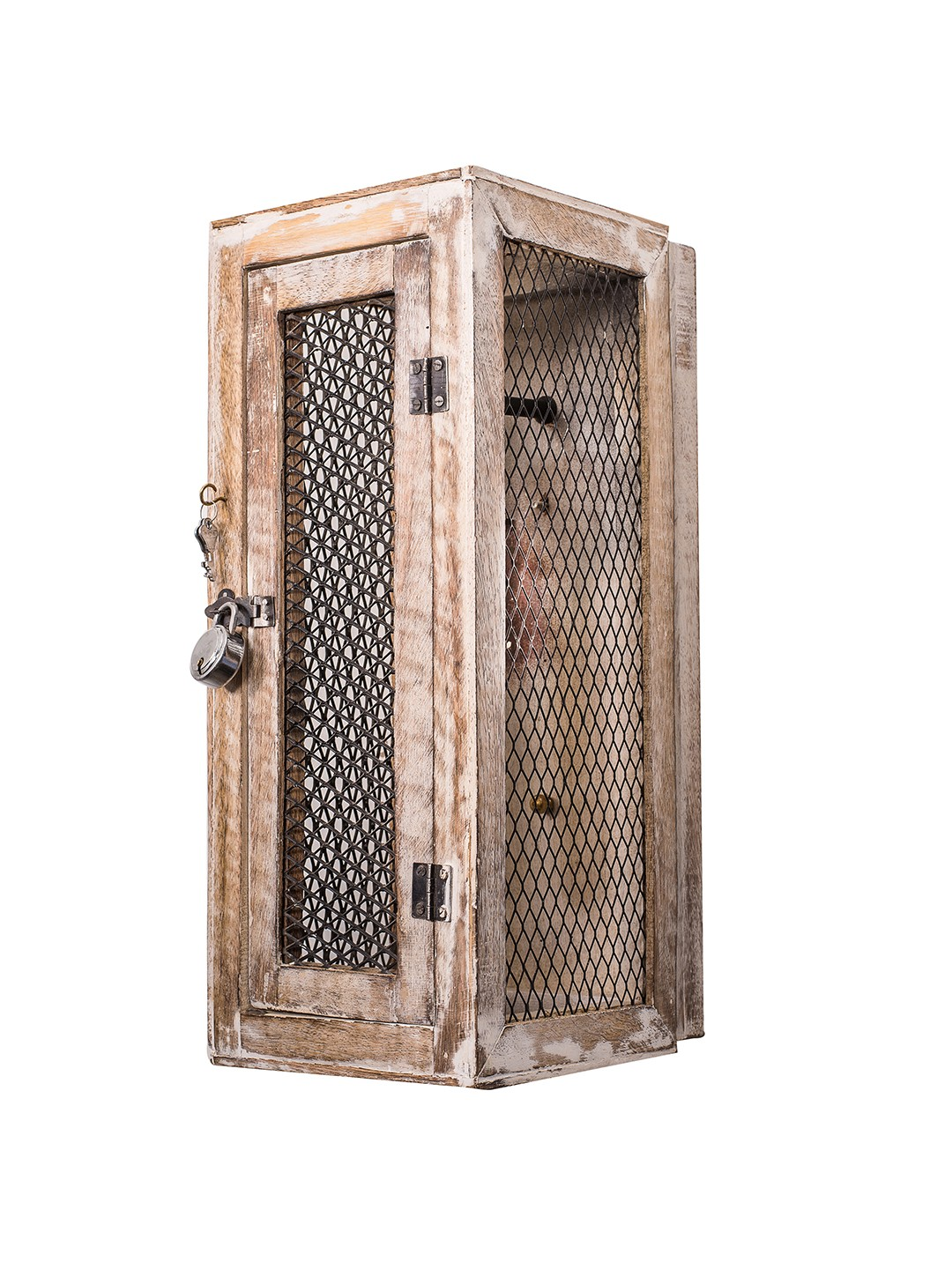 Rustic Wood Lantern Lattice Wall Light