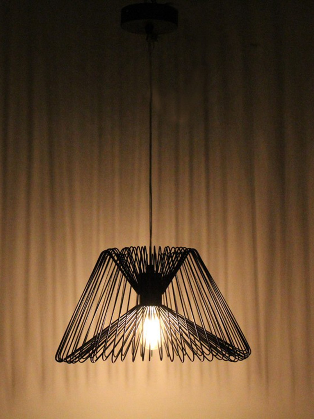 Modern Wire Cage Black Hanging Pendant Light