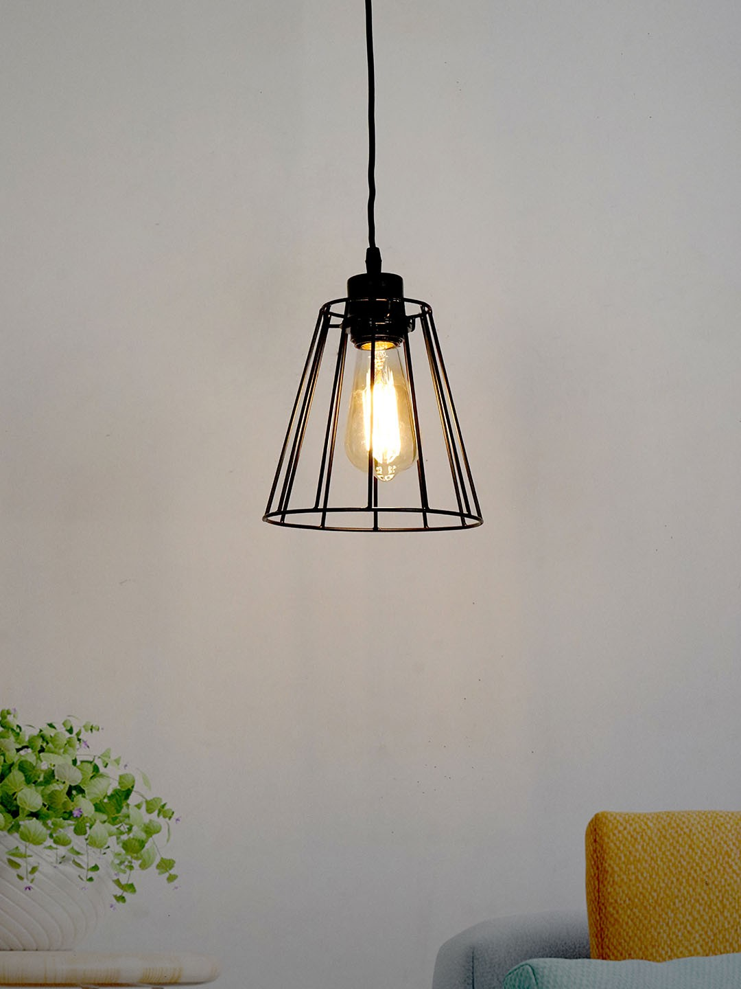 Industrial Metal Wire Black Shade Hanging Light