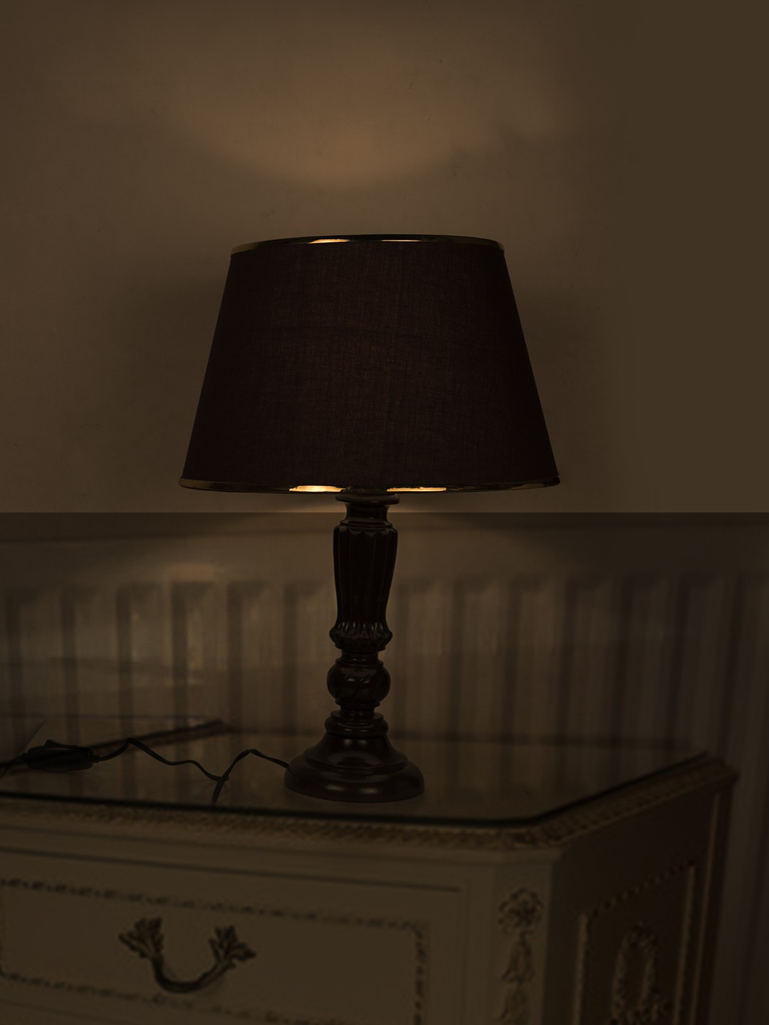 Brown Distressed Country Table Lamp with Gold Brown Shade