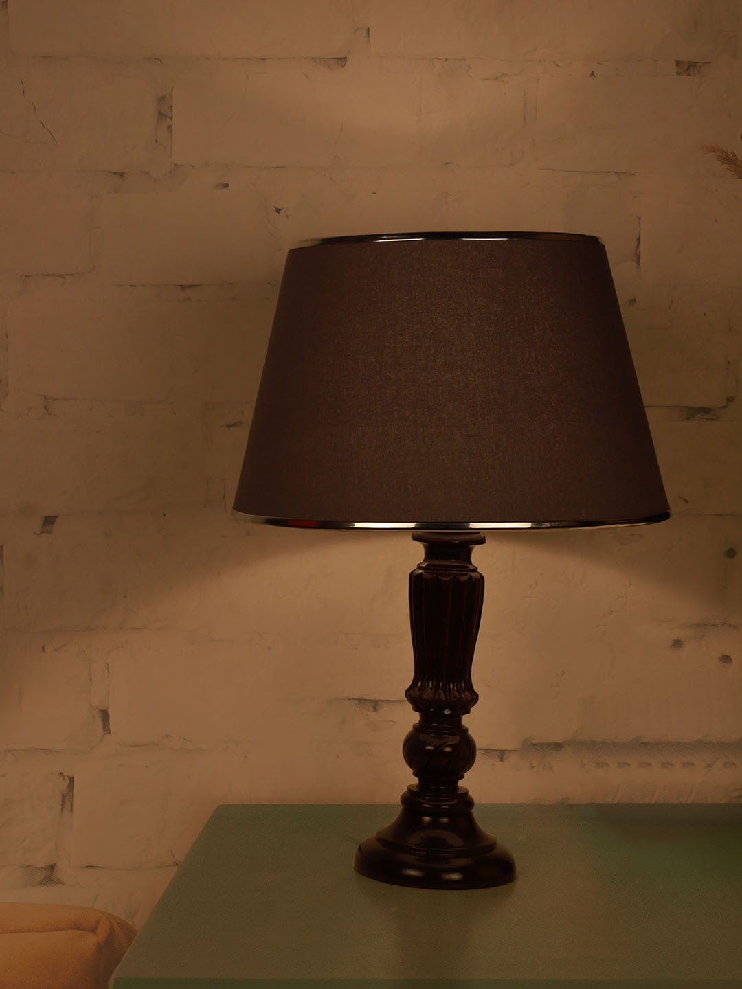 Brown Distressed Country Table Lamp with Chrome Grey Shade