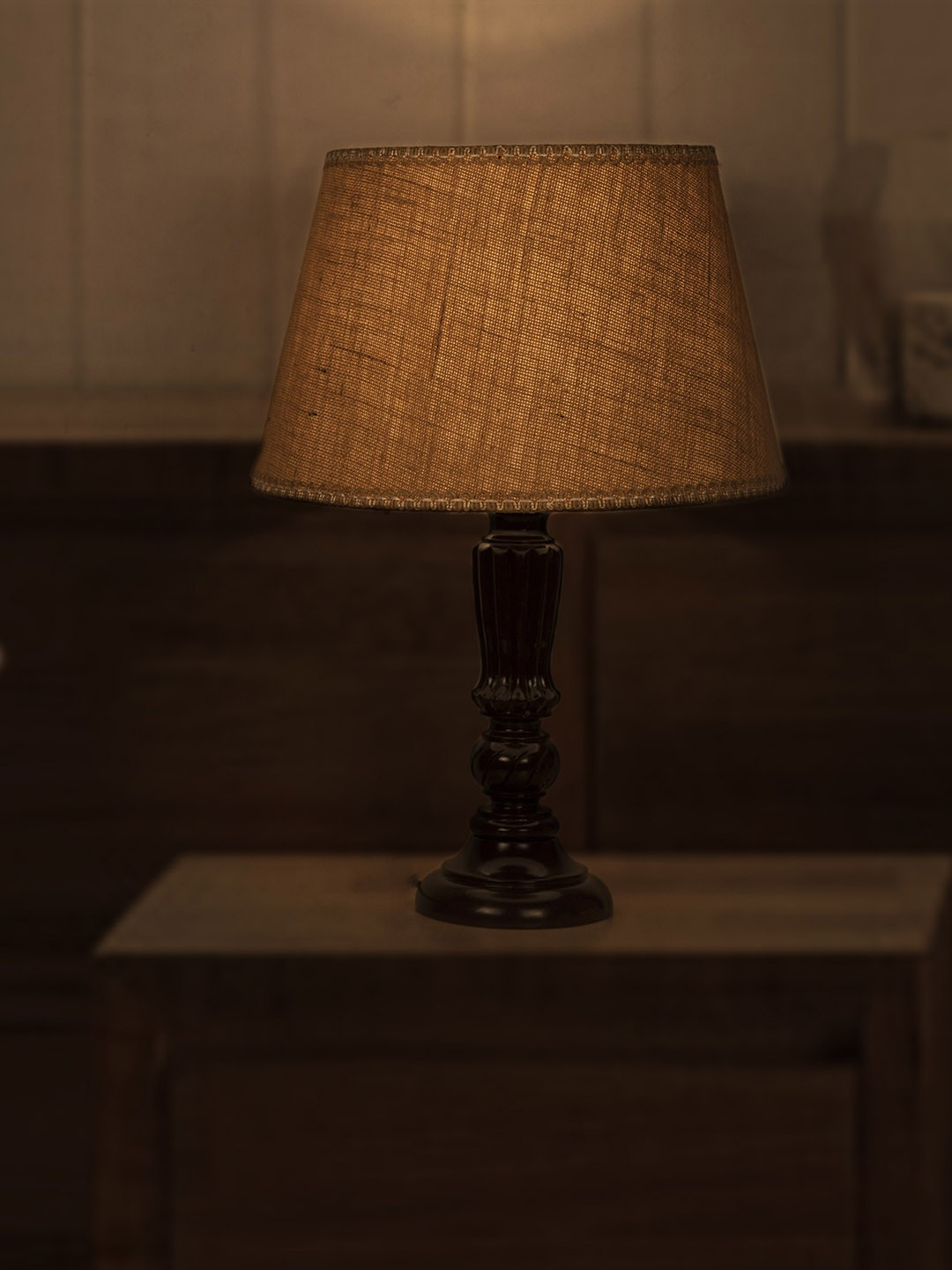 Brown Distressed Country Table Lamp with Jute Lace Shade