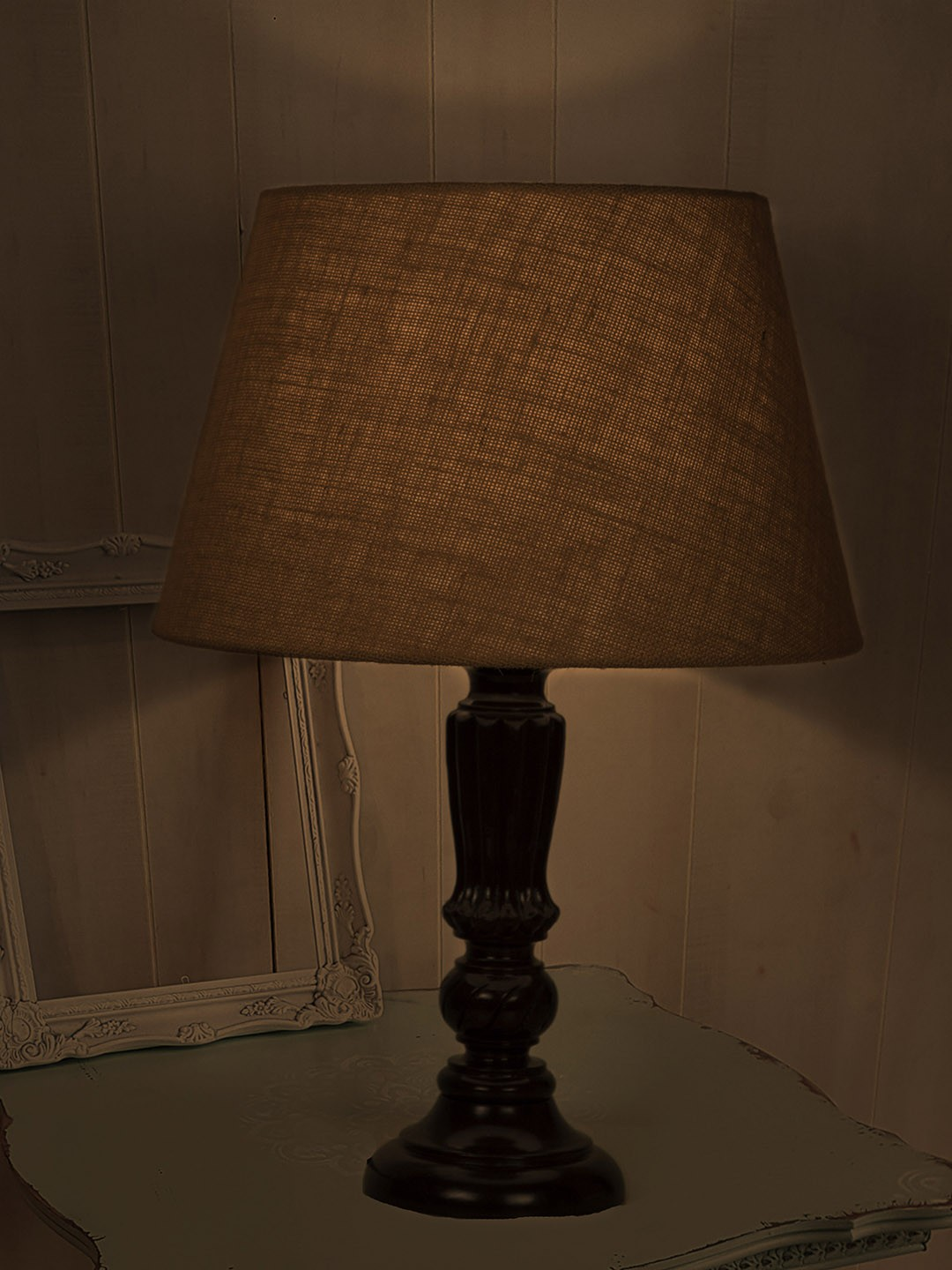 Brown Distressed Country Table Lamp with Jute Shade