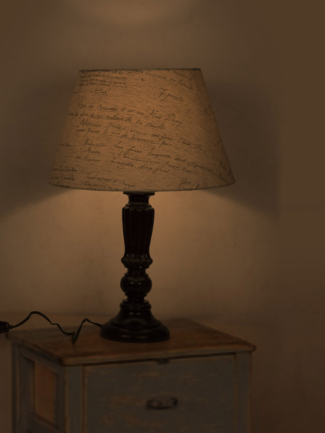 Brown Distressed Country Table Lamp with Calligraphy Shade