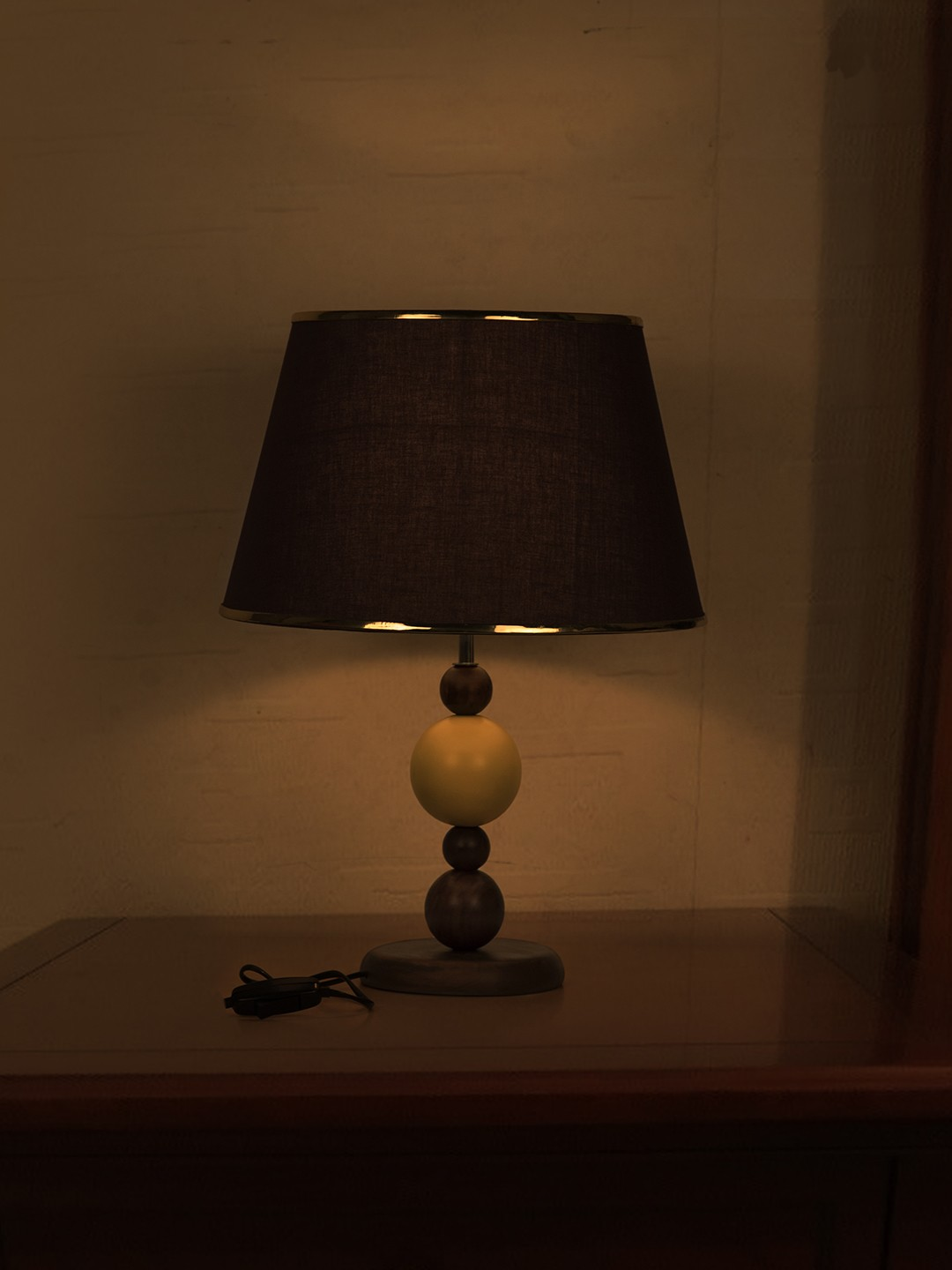 Yellow Ball Wood Table Lamp with Gold Brown Shade