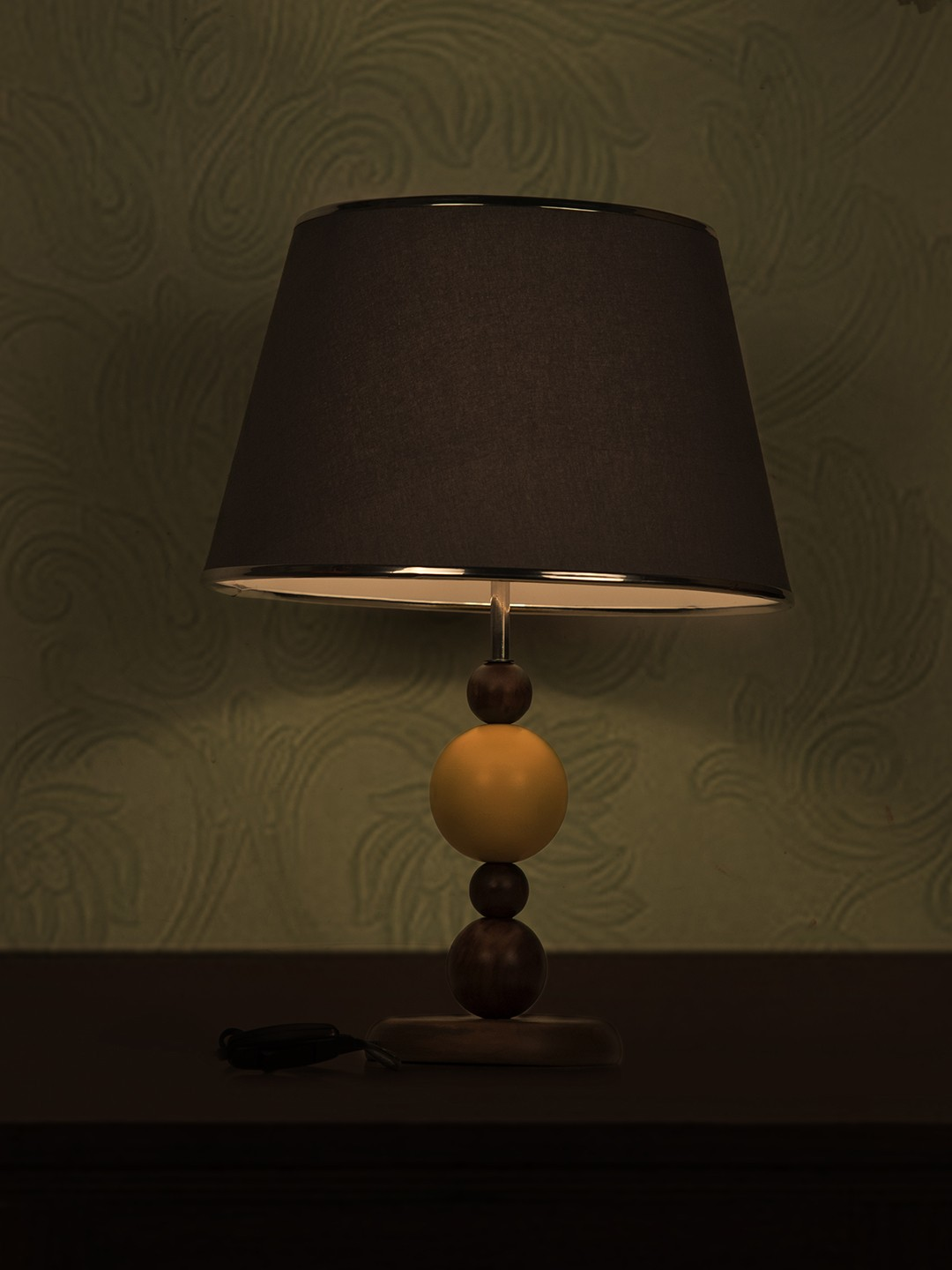 Yellow Ball Wood Table Lamp with Chrome Grey Shade