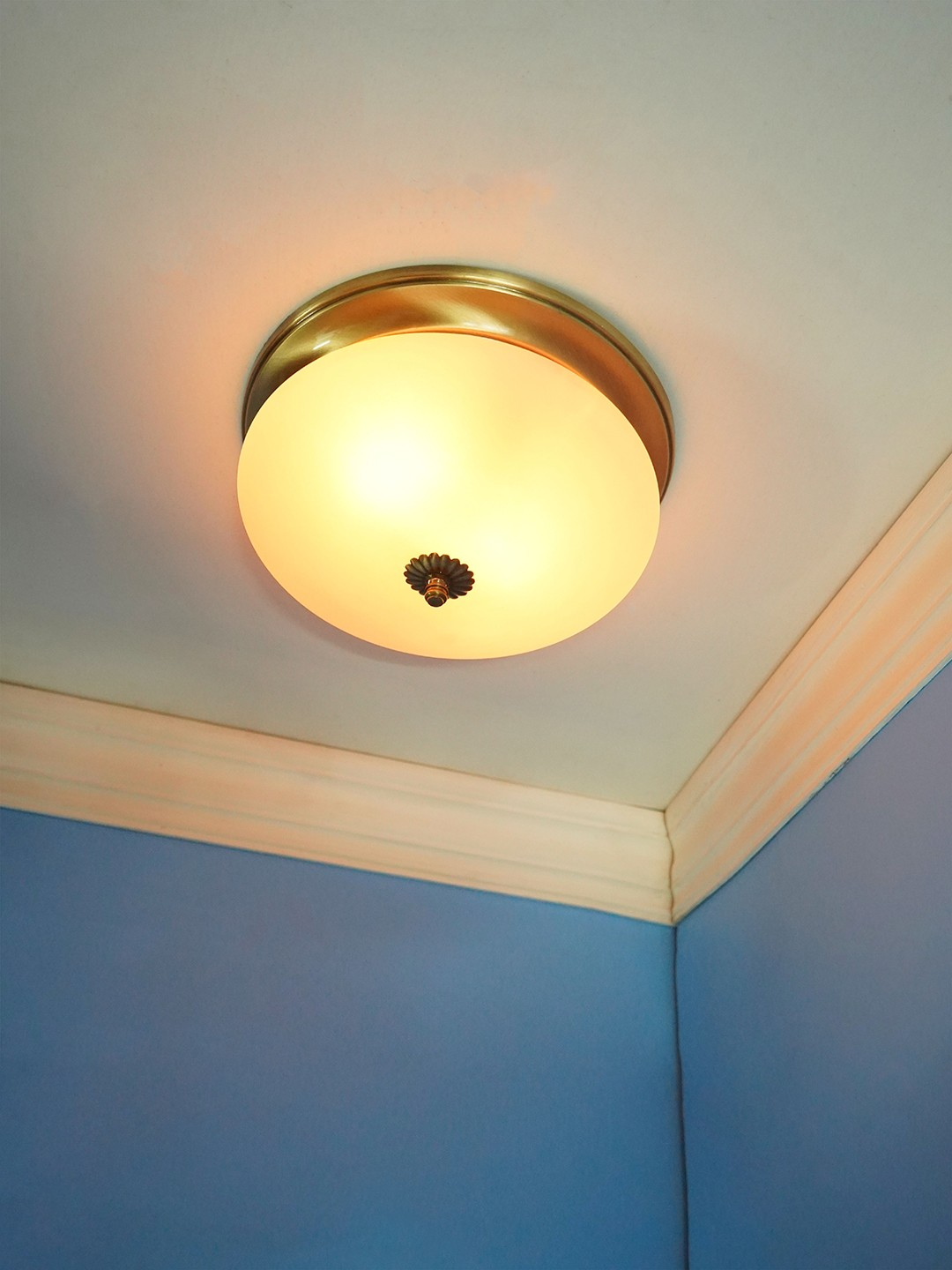 Simple Elegant Frosted Glass and Brass 10 Inches Flush Mount Ceiling Lamp