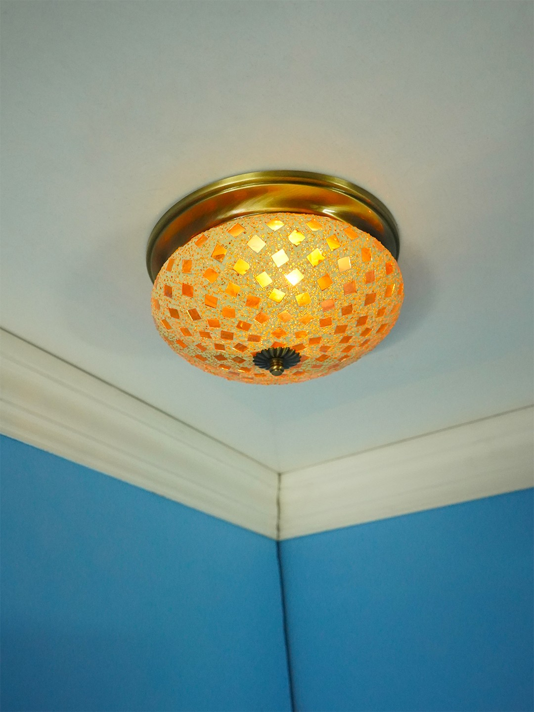 Golden Mosaic Brass Ceiling Light - Small