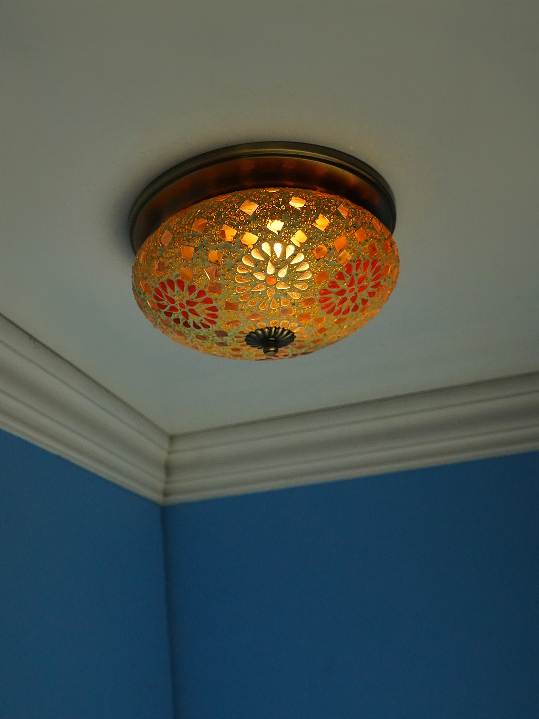 Tilak Mosaic Brass Ceiling Lamp - Small