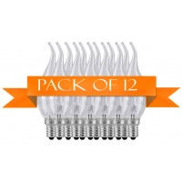12 Pack Generic 40 W E14 Bent Tip Candle Clear Bulb