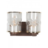 Golden Rimmed Glass and Wood Finished Double Metal Wall Sconce