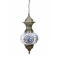 Turkish Multicoloured Mosaic Glass and Brass Pendant Light