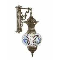 Turkish Multicoloured Mosaic Glass and Brass Wall Lamp