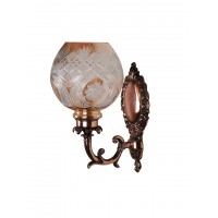 Antique Copper Finished Traditional 1 Light Wall Sconce with Golden Hand Cut Glass Shade