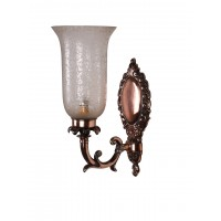 Antique Copper Finished Traditional 1 Light Wall Sconce with Etched Glass Shade