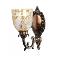 Antique Copper Finished Traditional 1 Light Wall Sconce with Golden Diamond Cut Glass