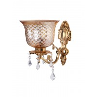 Majestic Gold & Crystal Aluminium Single Wall Sconce with Golden Hand Cut Glass Shade