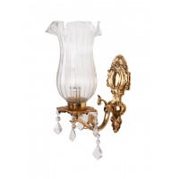 Majestic Gold & Crystal Aluminium Single Wall Sconce with Fluted Glass Jar Shade