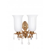 Majestic Gold & Crystal Aluminium Double Wall Sconce with Tall White Glass Shades