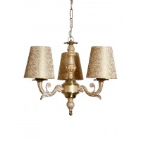 Golden White 3 Light Mini Chandelier in Brocade Shades