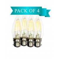 6W LED Filament Clear Candle B22 Bulb Warm White - Pack of 4