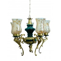 Regal Green Patina and Golden 5 Light Chandelier
