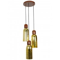 Cluster of 3 Gold Glass Jars Hanging Light with wooden plate and holders