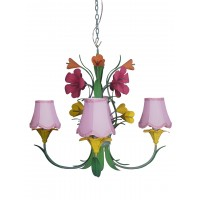 Boho Chic Metal Flowers 4 Light Bouquet Chandelier with Pink Fabric Shades