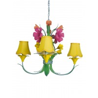 Boho Chic Metal Flowers 4 Light Bouquet Chandelier with Yellow Fabric Shades
