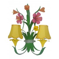 Boho Chic Metal Flowers Bouquet Wall Sconce with Yellow Fabric Shades