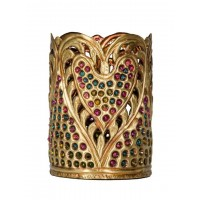 Studded Hand Carved Brass Tealight Candle Holder