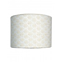 Brocade White Cylindrical 8 inches Fabric Shade (for E27)