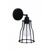 Industrial Black Cage Rustic Single Wall Lamp