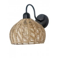 Handwoven Wicker Faux Cane 10 Inches Dome Wall Sconce