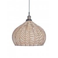 Handwoven Wicker Faux Cane 16 Inches Dome Hanging Pendant Light