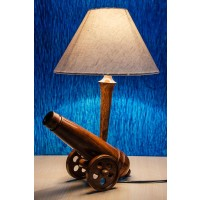 Cannon wooden table lamp with taper shade