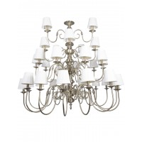 Classic 33 Light 3 Tier Antique Brass Finished Chandelier with Pleated Fabric Shades
