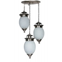 Triple Chandni Crackle Oval Hanging Light
