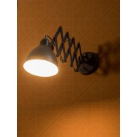 Accordion Arm Industrial Grey Wall Sconce Light