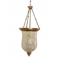 Golden Mosaic Glass Big Bell Jar Hanging Light