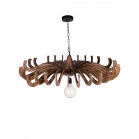 Modern 36 Inches MDF Wood Finished Flower Upward Pendant Light