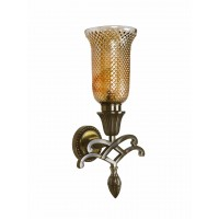 Sweeping Scroll and Lustrous Glass Single Wall Sconce Lamp