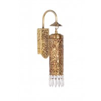 Hand Carved Brass & Crystal Cylinder Sconce
