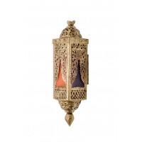 Handcrafted Brass and Colored Glass Wall Light