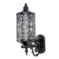 Cylindrical Black Aluminium Ornate Jali Work Transitional Outdoor Wall Light with Acrylic Shade