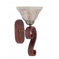 Sculptured Wood Golden Single Wall Sconce