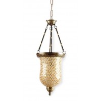 Golden Mosaic Glass Bell Jar Hanging Light