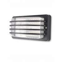 Unbreakable Outdoor Black Louvered Bulkhead Light