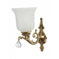 Graceful Antique Brass and Crystal Ball Single Wall Lamp